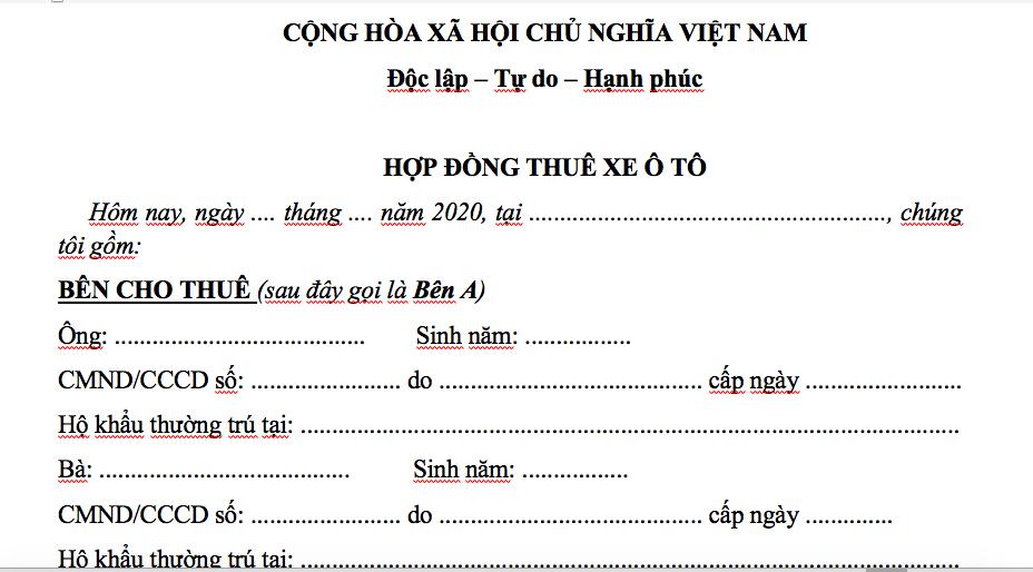 Hop Dong Thue Xe 2020