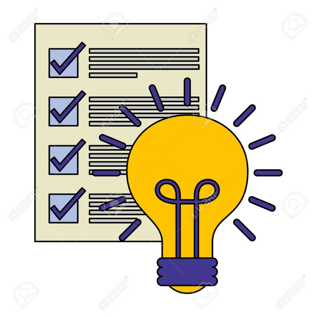 Document File With Light Bulb Isolated Icon